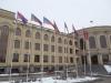 Флаги Армении у здания городской администрации.