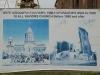 Плакат, где показана церковь до зелетрясения и после
