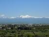Гюмри на фоне горы Арагац от подножия монумента
